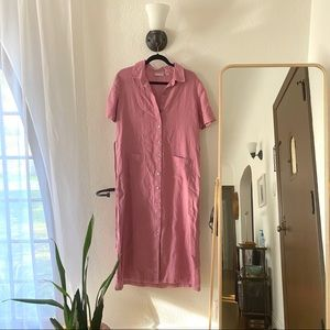 NORDSTROM Linen Dusty rose/pink shirt dress A3